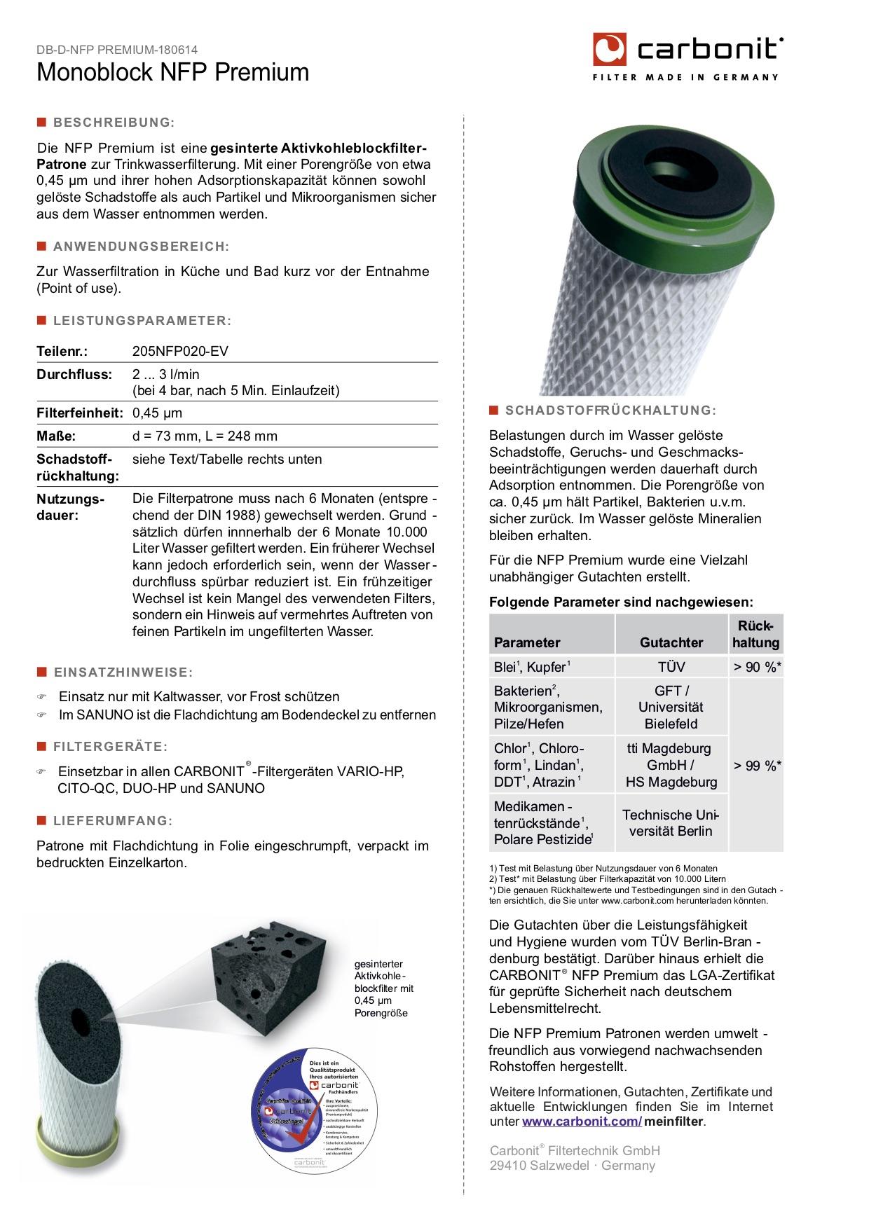 Filterleistung-NFP_Premium_im_Wasserfilter_Fachhandel