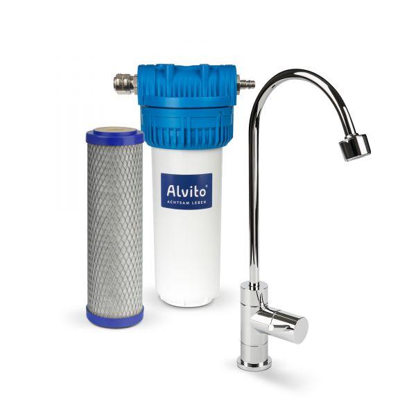 Alvito Einbau-Wasserfilter Set inkl. Filtereinsatz, Wasserhahn & Anschlussmaterial im Wasserfilter-Handel