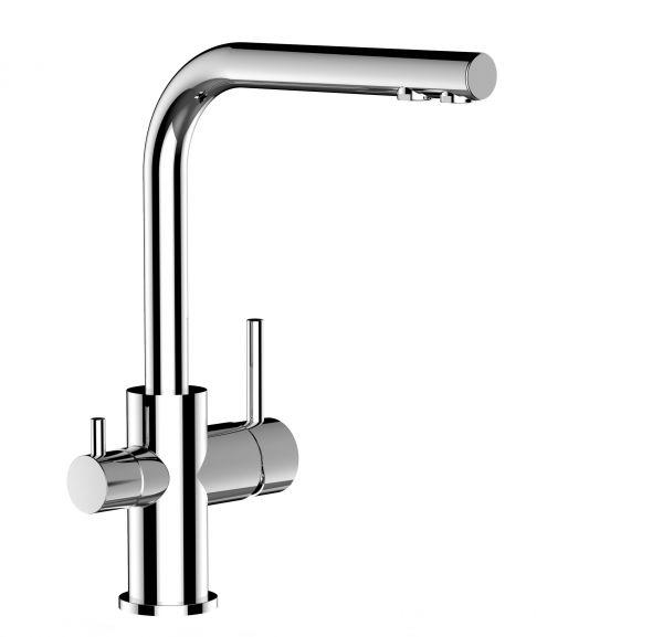 3-Wege-Wasserfilter-Armatur mit L-Auslauf Chrom glänzend im Wasserfilter-Fachhandel
