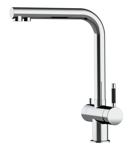 Alvito 3-Wege-Küchen-Armatur Atessa Edelstahl glänzend vom Wasserfilter-Fachhandel