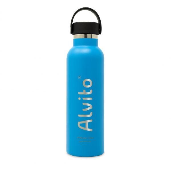 Isolierflasche 0,6L blau aus Edelstahl mit Alvito-Logo vom Wasserfilter Fachhandel lavito