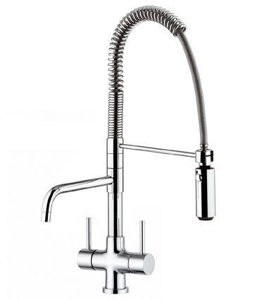 Küchenarmatur mit Spiralfeder und zweitem Auslaufhahn vom Wasserfilter-Handel